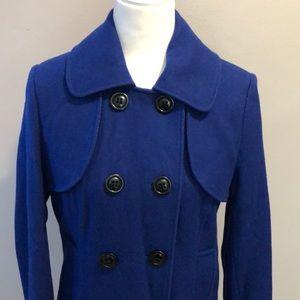 Worthington Royal Blue Pleated Pea Coat Small